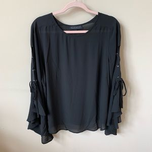 New! Eloquii black chiffon lace-up sleeve top #577